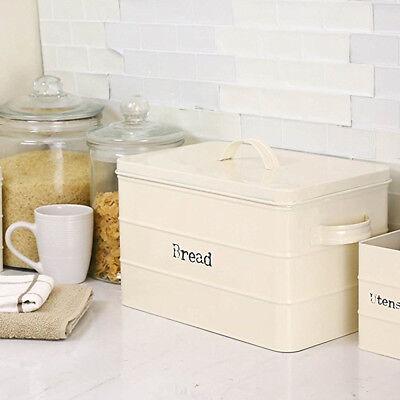 Home Basics Tin Ivory Bread Box With Handles