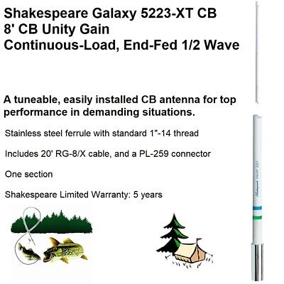 Shakespeare 5223-XT 8' CB Antenna For Top Performance In Demanding Situations