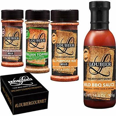 Loubier Barbecue Gourmet BBQ Sauce And Dry Rub Sampler - All Natural Organic For