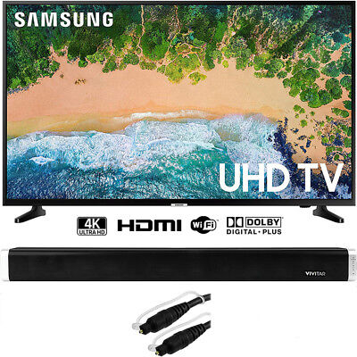 """Samsung UN50NU6900 50"""" NU6900 Nimble-witted 4K UHD TV (2018) w/ 37"""" Sound Bar Bundle"""