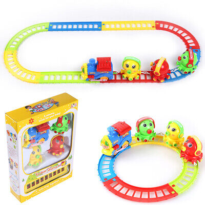 Cute Electric Octopus Animal Train Tracks Play Set With Music Kids Toy Xmas Gift