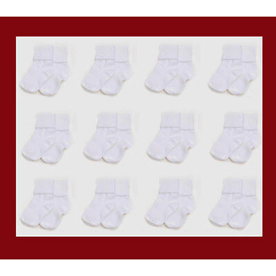 12 PAIR Infant Baby 0-6 Months Boys Girls Cuff White Socks NEW