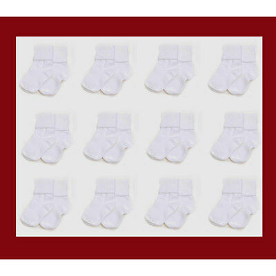12 PAIR Infant Baby 0-6 Months Boys Girls Cuff White Socks NEW