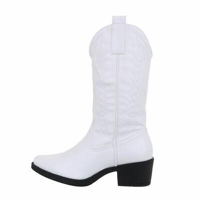 Aspecto Usado Western Botas Zapatos Mujer Diseñador Nuevo Talla 40 Blanco 2171