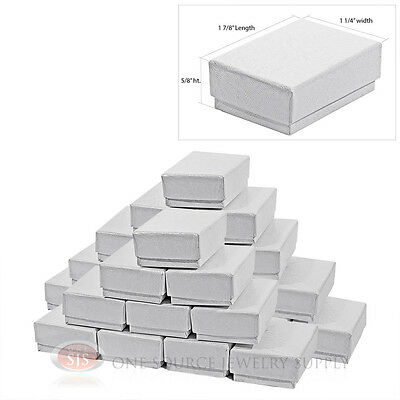 25 White Swirl Cardboard Cotton Filled Jewelry Gift Boxes 1 78 X 1 14 Box
