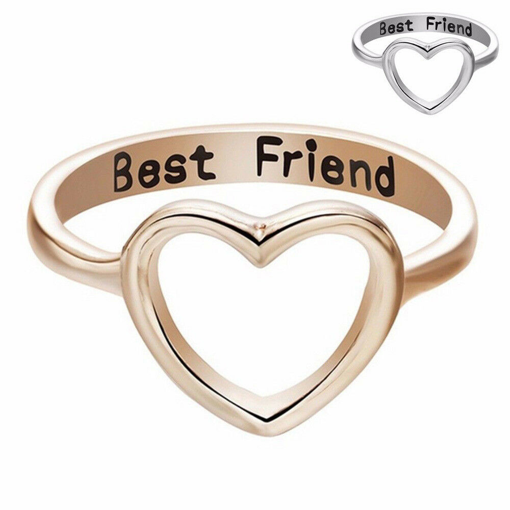 6bc94cb5ba9ea Details about Women Love Heart Best Friend Ring Promise Jewelry Friendship  Ring Bands BFF Gift