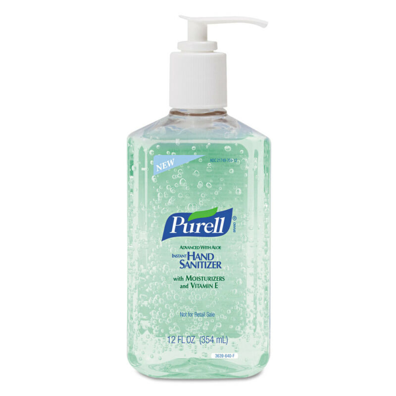 GOJO Advanced Instant Hand Sanitizer W/aloe,12oz Pump Bottle,12/ctn 363912CT NEW