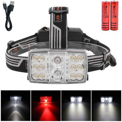 14LED Brightest Headlamp White Light +Red Light CREE LED USB Rechargeable Lamp 14 Led Headlamp