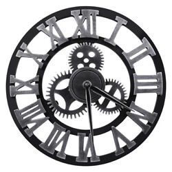 Vintage Retro 3D Gear Large Roman Numerals Wall Clock Non-ticking Silent Sweep