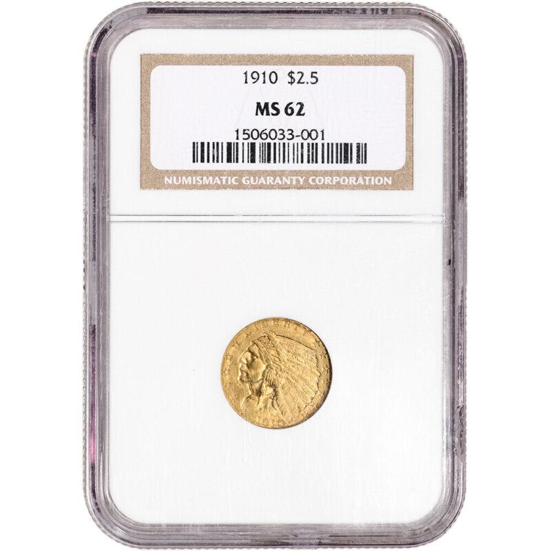 1910 US Gold $2.50 Indian Head Quarter Eagle - NGC MS62