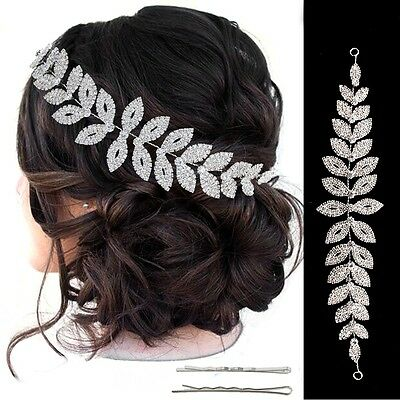 Bridal Silver Rhinestone Crystal Tiara Hair Vine Prom - Hair Vine