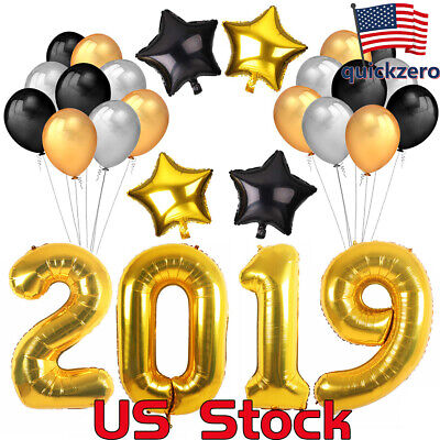 New Year Party Decoration (Graduation 18Inch Foil Star Balloon Party 2019 holiday New Year Decoration)