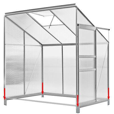 DEUBA Lean to Greenhouse 6x4ft Polycarbonate Garden Foundation Aluminium New