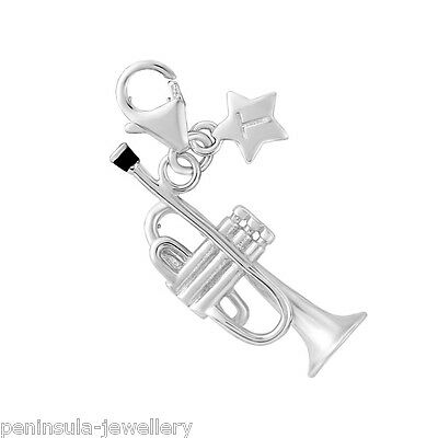 Tingle Trumpet Sterling Silver clip on Charm with Gift Bag and Box