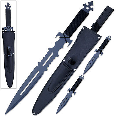 Warrior Throwing Knives - American NINJA Warrior Loadout SWORD & 2 Throwing KNIVES w Sheath Shoulder Strap