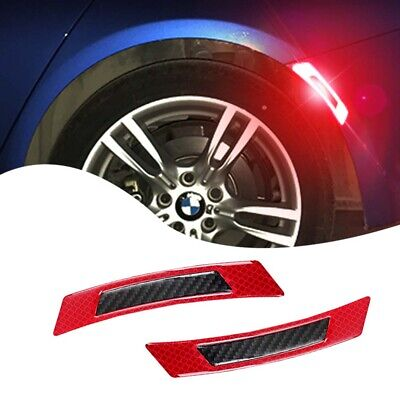 1Pair Carbon Fiber Car Wheel Eyebrow Refective Edge Protector Cover Stickers Red