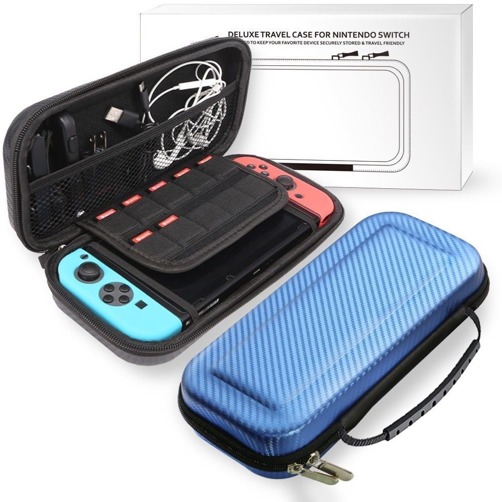 Nintendo Switch BLUE Carbon Fiber Carrying Bag Case + 1pc Tempered Glass Screen Bags, Skins & Travel Cases
