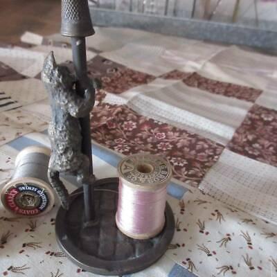 Charming Antique Bronze Cat Thimble Spool Thread Holder Vienna Austria