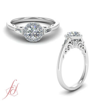 Halo Round Engagement Ring 0.85 Ct Filigree Shank Baguette Diamond GIA Certified