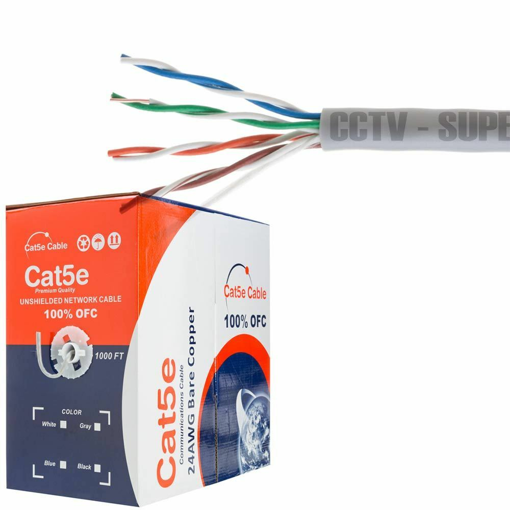 CAT5e CMR Ethernet UTP Cable Gray 1000FT 24 AWG SOLID BARE COPPER