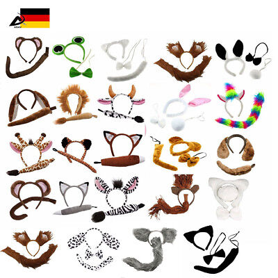 Tier Ohren Schwanz Schleife Haarreifen Kostüm Zubehör Fasching Karneval Safari