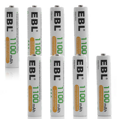 8x EBL 1.2V 1100mAh NiMH AAA Rechargeable Batteries High Capacity w/ 2x Cases for sale  La Puente