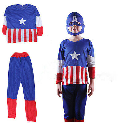 Captain America Marvel Avengers Fancy Dress Costume Boys Kids Superhero Outfit - Captain America Kids Outfit