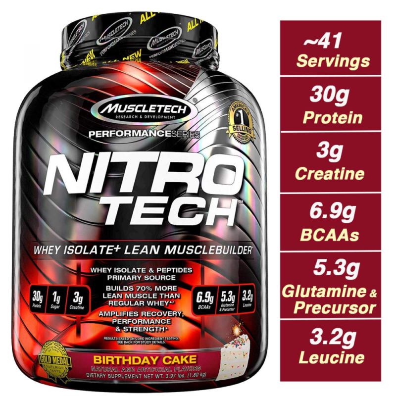 MuscleTech NitroTech Protein Powder Plus Muscle Builder, 100