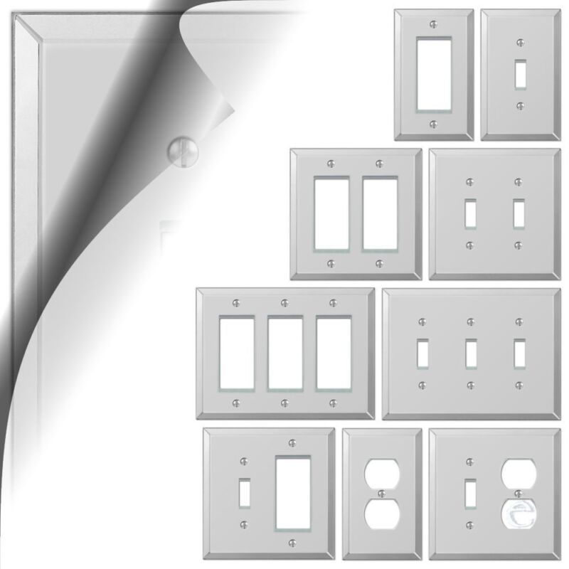 Mirror Switch Plate Acrylic Wallplate Toggle Duplex Outlet Cover Rocker GFCI GFI