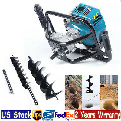 52cc 2 Stroke Post Hole Digger Gas Powered Earth Auger Borer Fence2x Drill Bits