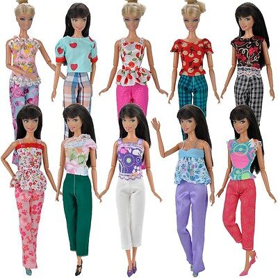 5Set Doll Clothes Tops Blouse Pants Trousers Outfit for Barbie Dolls US Shipping