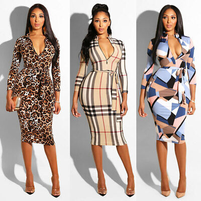 UK Women Ladies Long Sleeve Bandage Midi Dress Party Work Office Bodycon Dress