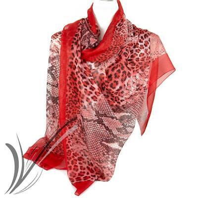 Foulard rosso fantasia animalier da donna elegante coprispalle per ragazza fular