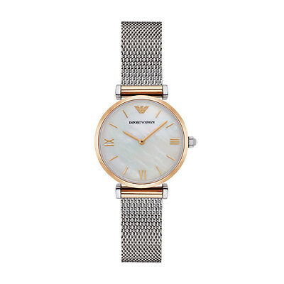 Emporio Armani AR2068 Pearl/Silver Stainless Steel Analog Quartz Women's Watch