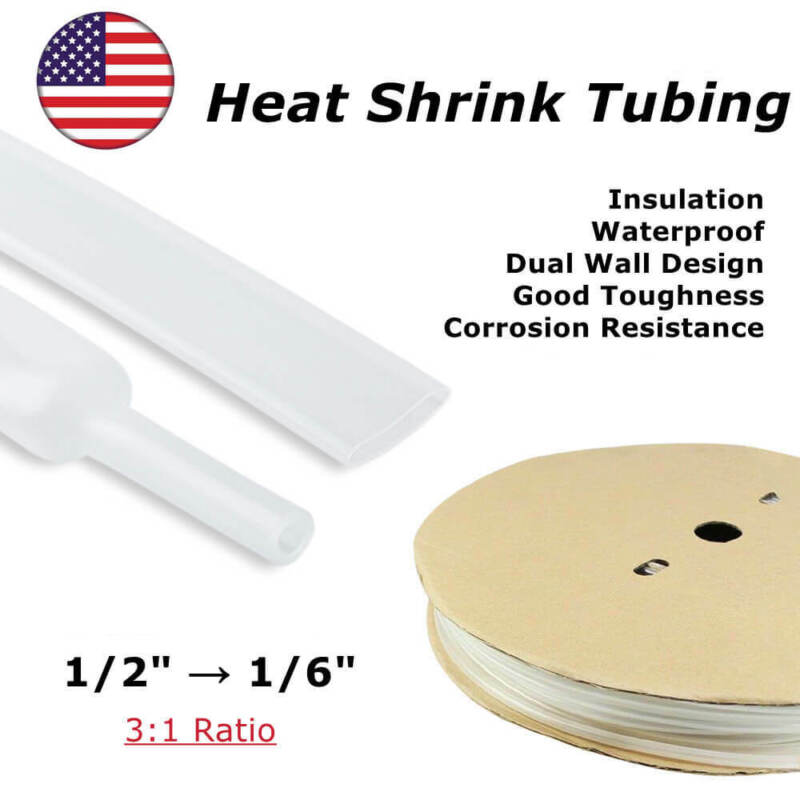"""10 ft Clear 3:1 Ratio Dual-Wall Adhesive Glue Lined 1/2"""" Heat Shrink Tubing"""
