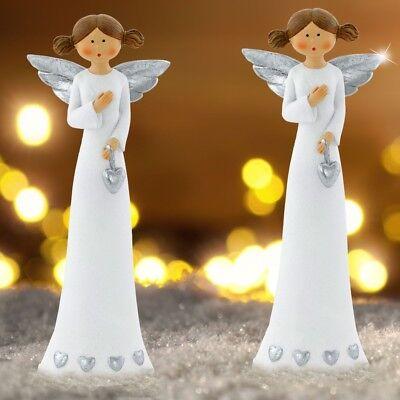 2er Set Weihnachts Engel Keramik Steh Figuren Winter Schmuck Stand Deko weiß