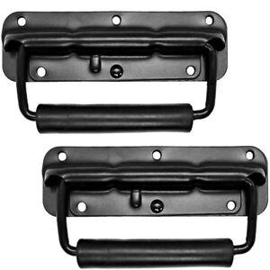 Pair of Black Surface Mount Spring Loaded Speaker Handles - For Speaker Cabs