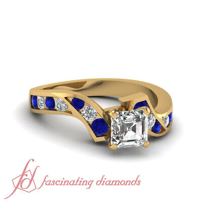 Channel Set Swirl 1.35 Ct Asscher Cut Diamond And Sapphire Engagement Ring GIA