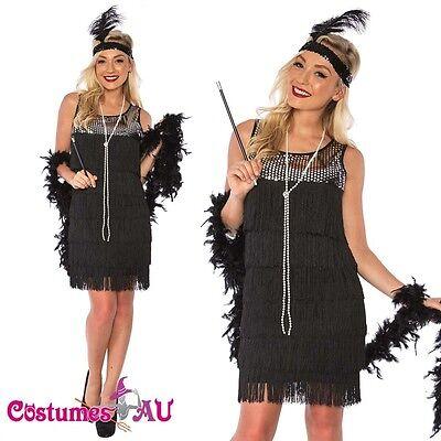 Deluxe Ladies 1920s Roaring 20s Flapper Costume Sequin Ganster Fancy Dress Up](20s Dress Up)