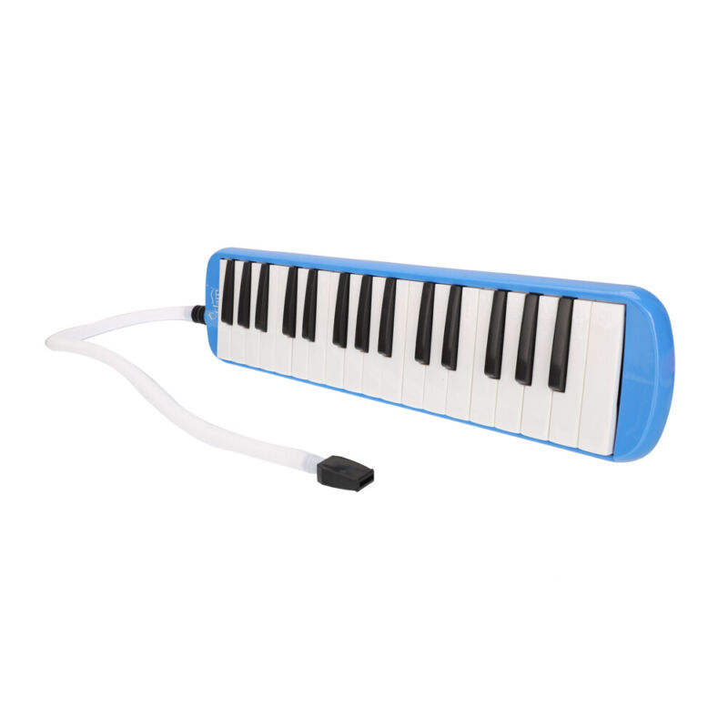 US SHIPPING 32-Key Melodica Mouth Organ with Blowpipe & Blow Pipe Blue
