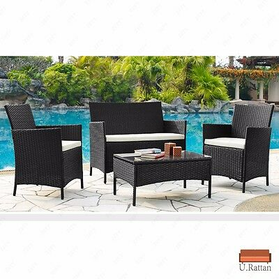 4PC Outdoor Rattan Wicker Patio Furniture Set Cushioned Sofa & Table Garden Lawn