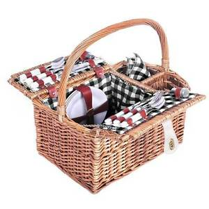 NEW FREE SHIPPING - 4 Person Picnic Basket Set with Blanket Blac Silverwater Auburn Area Preview