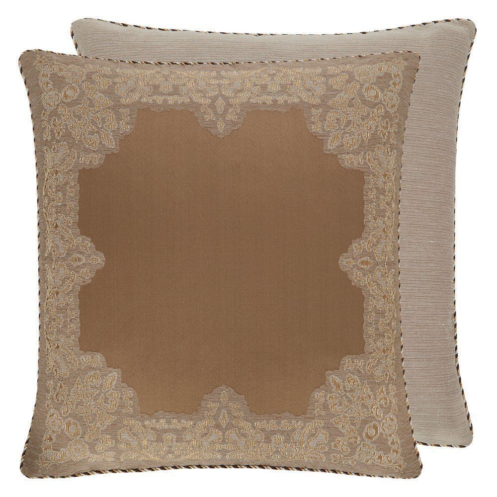 "Croscill Montecarlo Nwt 26"" Reversible Embroidered Euro Pillow Sham Gold Brown"