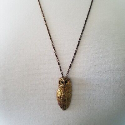 "Brass Owl Necklace Long Chain 28"" 29"" 30"" with Black Crystal Eyes"