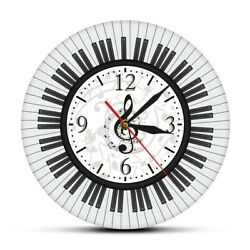 Piano Keyboard Treble Clef Modern Wall Clock Musical Notes Watch Pianist Gift