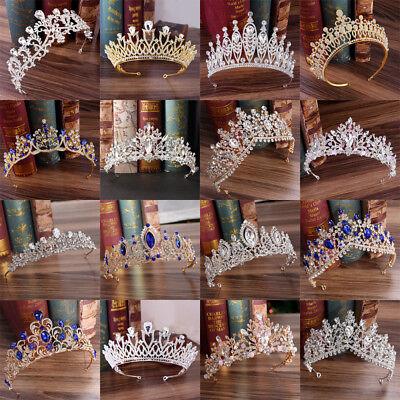 Baroque Bride Princess Rhinestone Crystal Hair Tiara Wedding Crown Veil Headband - Bride Crown