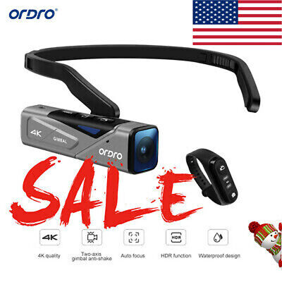 ORDRO EP7 Head Wearable 2-Axis 4K 60fps Video Camera Hands-Free with Remote U4O6
