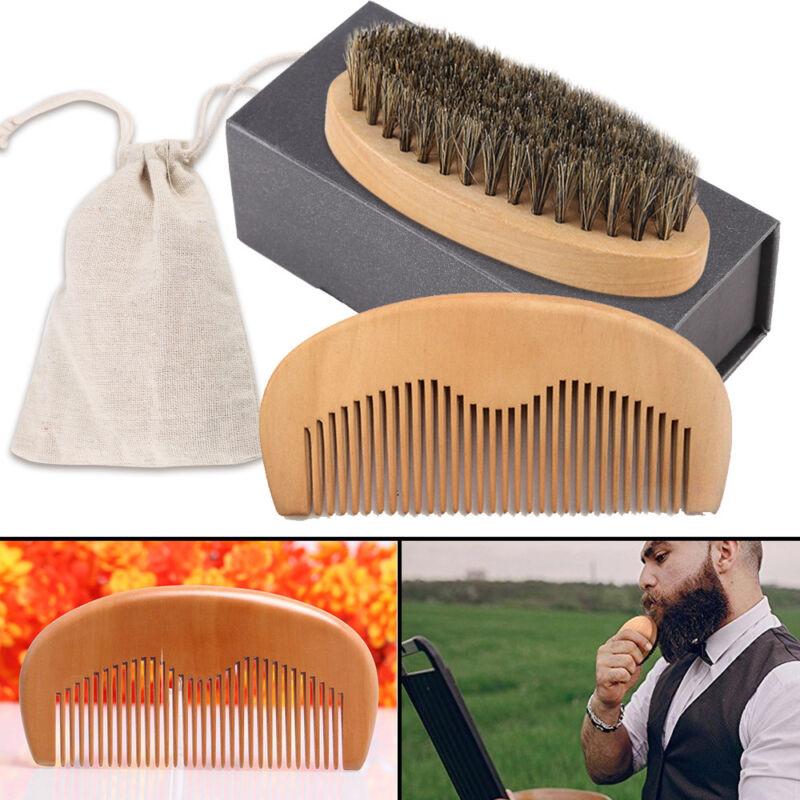 Holz Bartbürste von aus Bambus mit Wildschweinborsten Geschenk NEU TOP DE