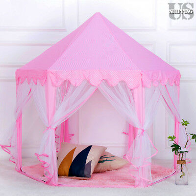 Girl Princess Castle Play Tent Indoor Outdoor Large Children Kid Play House Pink