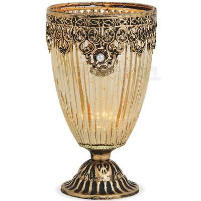 Marokkanische Schlafzimmer Dekor (Teelichtglas Windlicht Kelch Orientalisch Marokko & Metalldekor gold antik 18 cm)